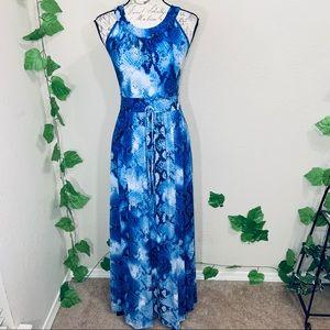 Calvin Klein Blue White Snakeskin Maxi Dress